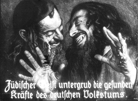 """""""El espíritu judío socava la salud del pueblo germano"""", cartel de la segunda mitad del siglo XIX en Alemania."""